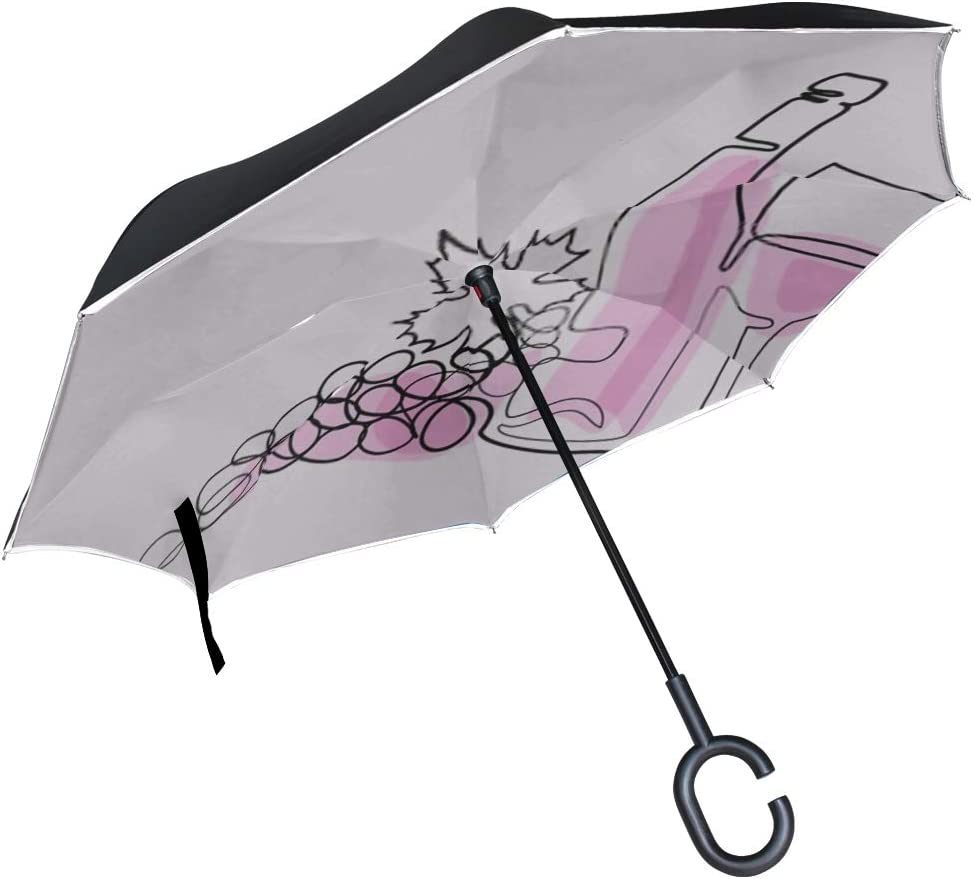 Double Layer Inverted Inverted Umbrella Is Light And Sturdy Continuous Line Color Drawing Wine Bottle Reverse Umbrella And Windproof Umbrella Edge Ni