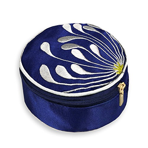 Travel Jewelry Case - Embroidered Chrysanthemum (Navy)