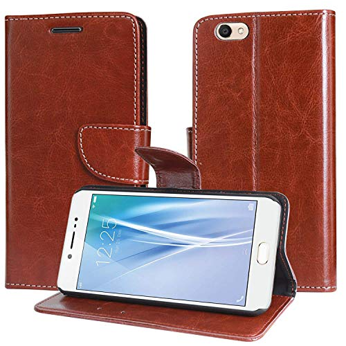 covernew vintage leather Flip Cover for vivo v5plus  1611   executive brown
