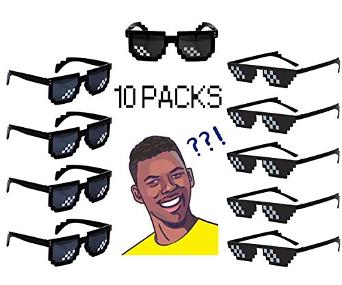 10 Pack 8 Bit Pixelated Party Sunglasses Thug Life Mosaic Gamer MLG Photo Props Glasses for Adults Teens ()