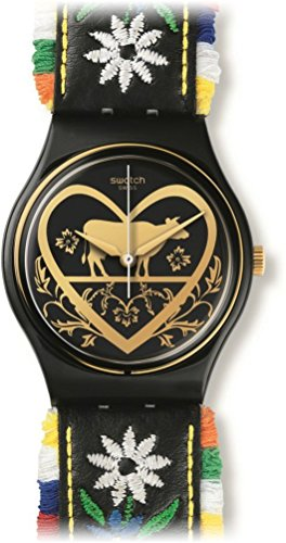 Swatch GB285 Die Glocke Black Dial Floral Embroidery Leather Women Watch NEW (Florals Tock Tick)