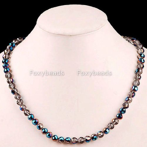 - NECKLACE - 8mm Round Facet Crystal Loose Glass Beads Necklace 21inch L - from Hibiscus Express
