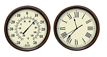 Amazon Com Bios Decorative Thermometer And Clock Set Sports Outdoors