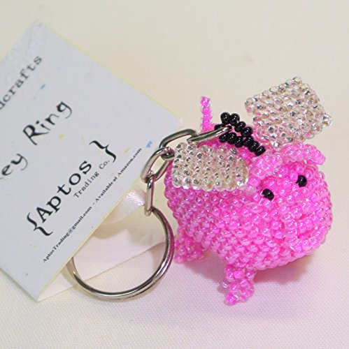 - Adorable Handcrafted Pink Flying Pig Key Chain / Backpack Charm / Purse Charm / Key Ring