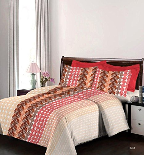 Bombay Dyeing Engracia 144 TC Cotton Double Bedsheet with 2 Pillow Covers – Orange.