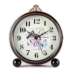FirstDecor 5 inch European Style Silent Quartz Analog Alarm Clocks Desktop Clock Retro Vintage Home Decoration Desk Clock Wall Clock