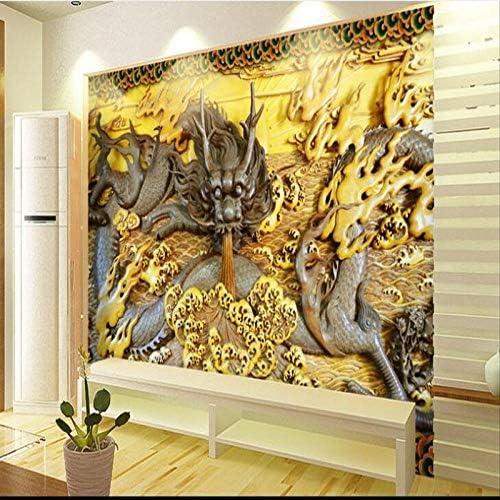 Ljjlm カスタム大規模壁画3D石彫刻Longtuテレビの背景の壁の壁紙Papel De Parede Para Quarto-160X120Cm