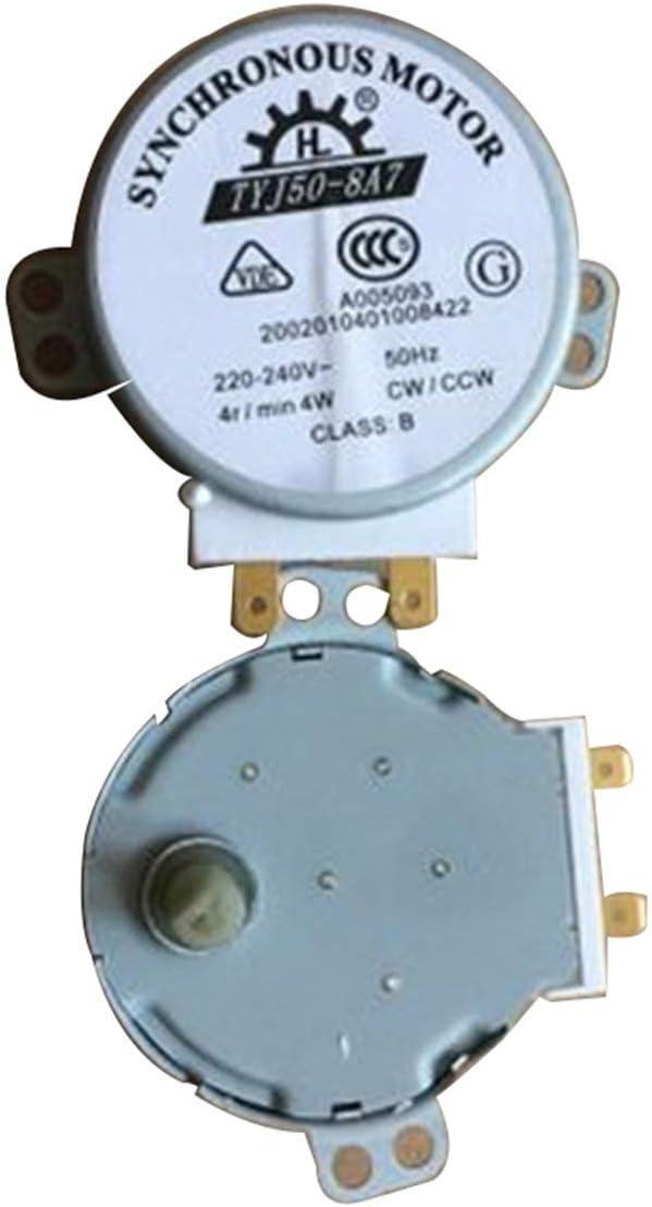 BIYI para Haier/Midea/Galanz Placa giratoria de microondas Motor síncrono Placa de vidrio/Bandeja Motor síncrono Bar TYJ50-8A7 (plateado) ()
