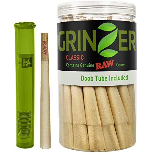 RAW Cones Natural Pre Rolled Classic - 100 Pack - King Size Cigarette Rolling Papers with Filter Tips & Packing Sticks Included + Bonus Doob Tube - 110mm Easy to Fill Paper, Slow Burning - by Grinzer