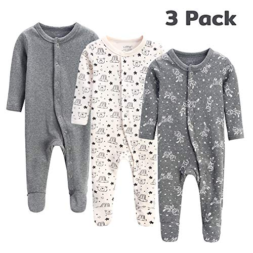 lifely 3 Pack Baby Pajamas Footed Baby Boy Girl Pajamas Cotton Infant Sleeper Footie 3-6 Months Romper Overall Baby Pajama Set Long Sleeve with Sleeve Cuff