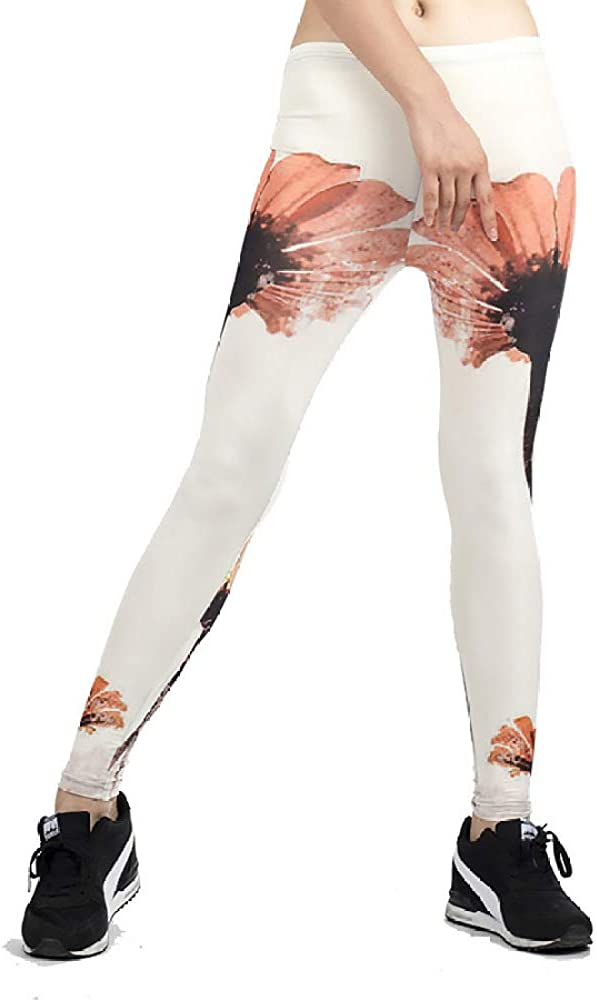 Nuevos Pantalones Deportivos para Mujer Estampado de Flores Elástico Fino y Delgado Leggings de Yoga para Mujer Pantalones Deportivos para Correr Blanco M
