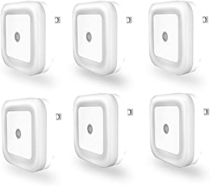 Self Dimming Light Sensor LED Night Light, Plug in Fade in Out Nightlight, Smart Sensor Wall Night Lamp, White, Compact, 6 Pack