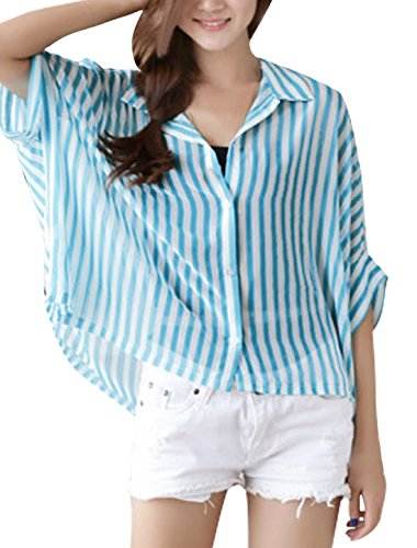 Woman Point Collar Pinstripes Elbow Batwing Sleeve Casual Blouse