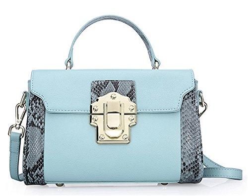 Bolsos de señora Xinmaoyuan Verano Cowhide serpentina traje color hombro cruza señoras bolso,Rosa Blue