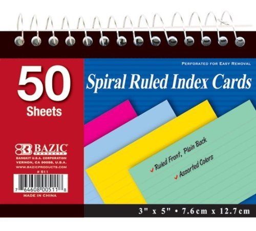 BAZIC 50 Ct. Spiral Bound 3'' X 5'' Ruled Colored Index Card, Case Pack 36 by Bazic