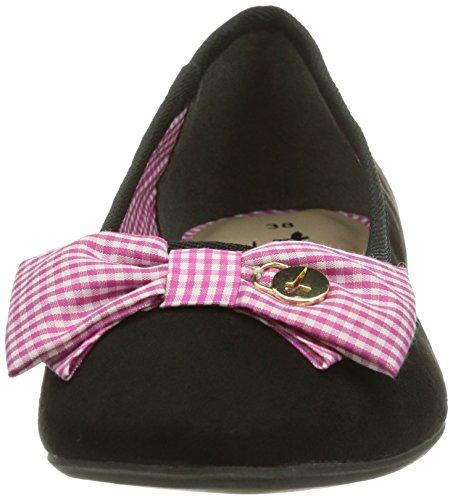 Tamaris 22154 - Zapatos de vestir de lona para mujer negro - Schwarz (Black/Fuxia 054)