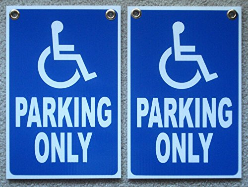 Nc Ticket (2 Pcs Impassioned Unique Handicap Parking Only Sign Symbol Signs Yard Store Message Outdoor Pass Poster Private Disabled Post Lawn Fine Property Custom Reserved Wheelchair Size 12