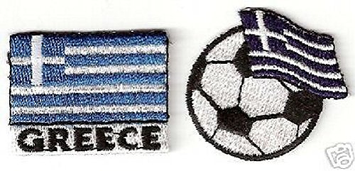 (2pcs Soccer Football Greece Embroidery Flag Patch)