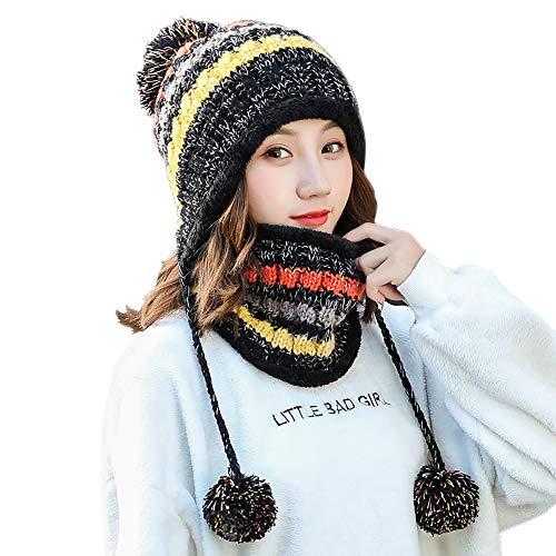 SCOWAY Womens Girls Knit Pom Pom Beanie Scarf Set Soft Warm Fleece Lined Winter Ski Hat with Earflap and Braids (Black)