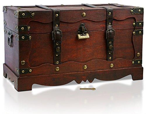 Thunderdog New York - Piraten-Schatztruhe mit Schloss 50x25x28cm Schatzkiste Holz-Truhe