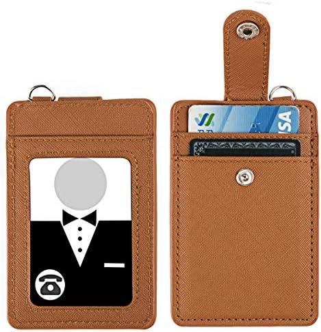 PG6 Visitenkartenhalter aus PU-Leder mit abnehmbarem Umhängeband und Armband, Schwarz/Grün, Einheitsgröße