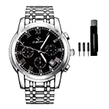 Watches,Mens Full Stainless Steel Quartz Stretch Band Watches for Men Business Dress Wristwatch Waterproof (Silve +Black)