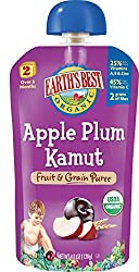 Earth's Best Organic Stage 2, Apple, Plum & Kamut, 4.2 Ounce Pouch (Pack of 12)