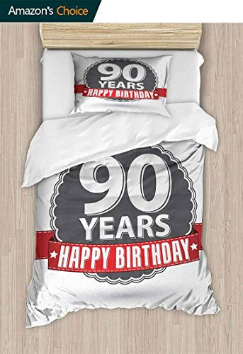 Temox 90th Birthday Home 2 Piece Print Quilt Set, Retro Style Label with Red Ribbon and Vintage Emblem Stars Classical, with 1 Pillowcase for Kids Bedding,59 W x 78 L Inches, Red Grey White