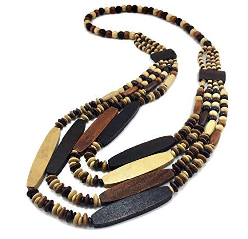 Nataliya African Bead Jewelry Set (Beige Brown Multilayer Bead)
