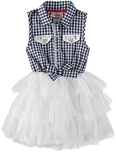 Girls Sleeveless Pique - Little Lass Little Girls' Sleeveless Tulle Dress (Picnic Blue, 6)