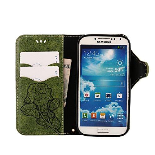 MEIRISHUN Leather Wallet Case Cover Carcasa Funda con Ranura de Tarjeta Cierre Magnético y función de soporte para Samsung I9500 Galaxy S4 - Negro Verde
