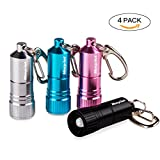 Morpilot 4 Pack Nano LED Key Chain Flashlight LED KeyMate Mini Light,White Light (4 Pack Mini Keychain Flashlight)