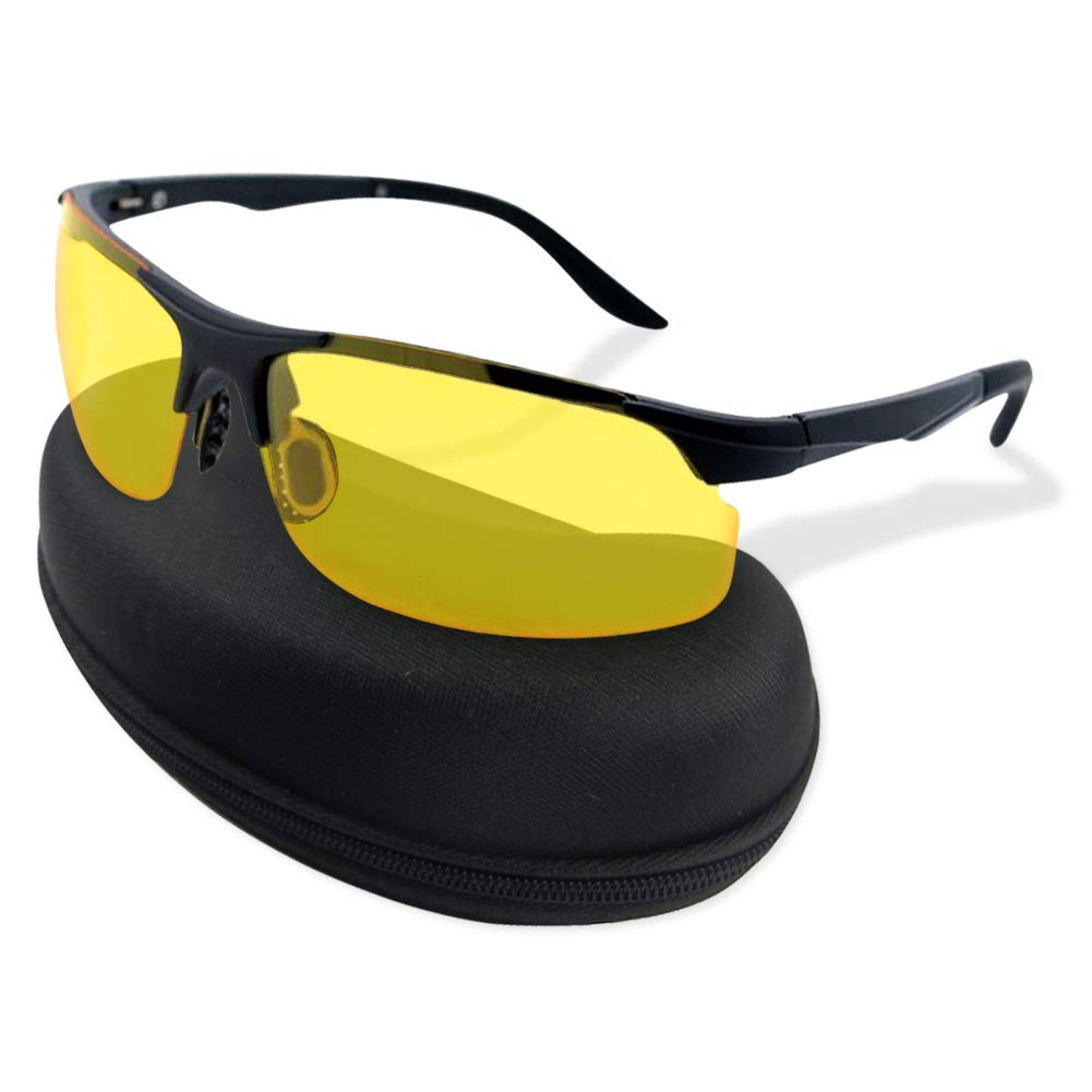 HD Night Vision Driving Glasses for for Men Women - Polarized Safety Glasses for Outdoor Activities - Yellow Anti Glare UV400 Polycarbonate Lenses with Lightweight Aluminum Frame Black Case by Night Vision Glasses