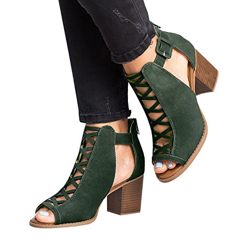 Heel Up Green Platform Strappy Liyuandian Open Womens Lace Sandals Toe High w8IHq