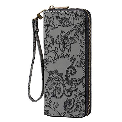 (HAWEE Leather Clutch Wallet for Women Zippered Wristlet Bag, Black Grey Flower)