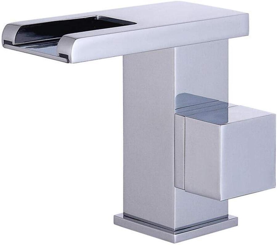 油圧LED自己照明蛇口ホットとコールド滝蛇口単穴シングルハンドル浴室流域蛇口