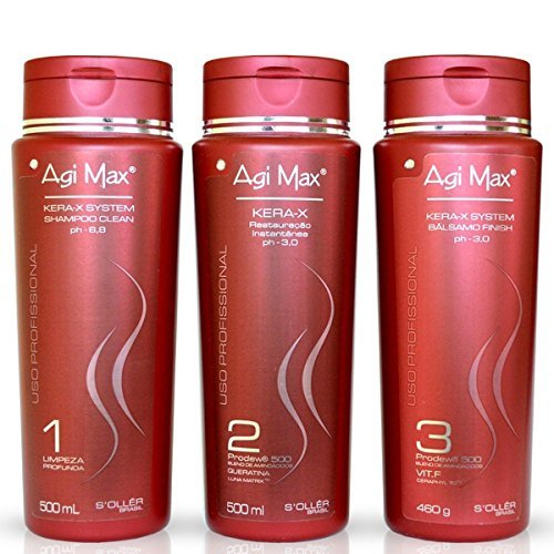Agi Max Brazilian Keratin Hair Treatment Kit 500ml - 3 Steps (3 x 500ml) - The Best Straightening!