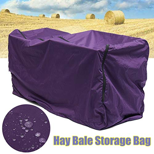 Essort Hay Bale Storage Bag, Extra Large Tote Hay Bale Carry Bag, Foldable Portable Horse and Livestock Hay Bale Bags with Zipper Waterproof, Purple 45'' x 14'' x 23'' by ESSORT (Image #1)