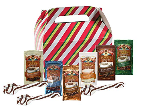 Land O Lakes Hot Cocoa Classics Variety Mix 8 Packets Total Each 1.25 oz | 3 Hot Cocoa Hard Candy Spoons| Holiday Themed Gift Box | Thanksgiving Christmas Special Event Stocking Stuffer