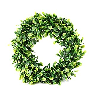 Azoco 17″ Artificial Boxwood Wreath, Faux Green Leaves Wreath Round Farmhouse Greenery Garland for Home Front Door Hanging Wall Window Wedding Party Summer Decor, Indoor/Outdoor Use