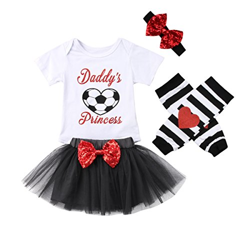 ITFABS World Cup Baby Clothes Baby Girls Football Romper Bodysuit Floral Tutu Lace Skirt Stripes Leggings + Headband Baby Skirt Romper Outfits (White Black, 80(3-6 Months))