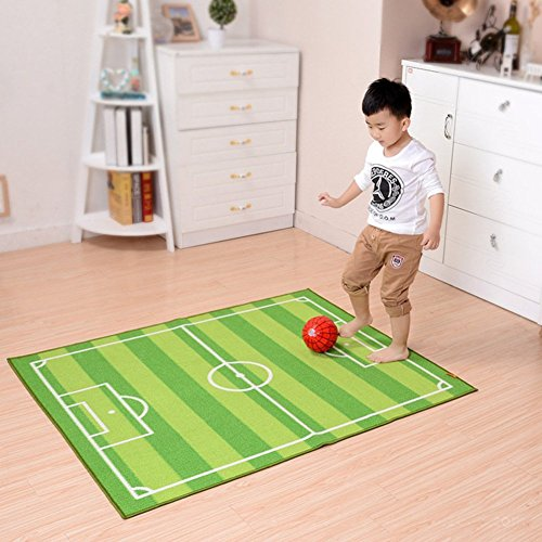 MOMO Children'S Carpet Non-Slip Suction Soccer Field Living Room Bedroom Can Be Washed Foot Pad-Green-A133X180Cm(52X71Inch) by MOMO