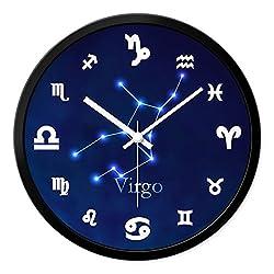 Nclon 12 constellations Wall clock,Round Mute silent quiet Sweep Metal Quartz Precision Wall clock-Virgo 30cm