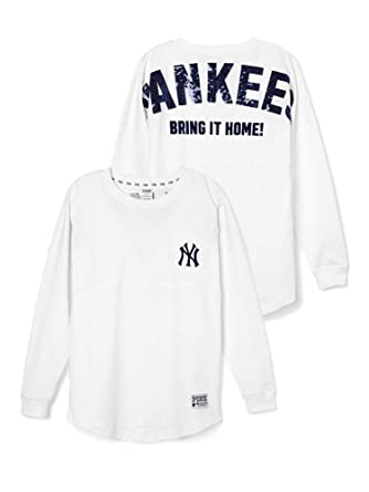 ce1bcc58af Amazon.com  Victoria s Secret PINK New York Yankees Bling Varsity Crew  Large White  Clothing