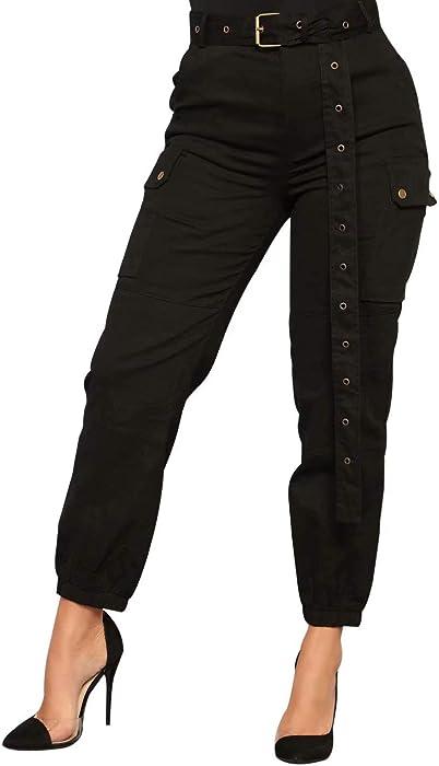 Frecoccialo Femme Pantalon Cargo Taille et Bas Elastique Pantalon Chino  Femme avec Poches Plaquées à Rabat 02eac6489ae