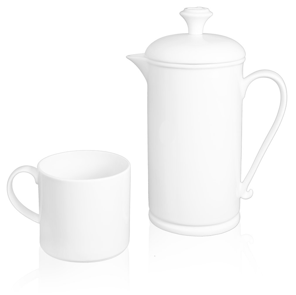 The French Press Coffee Company Porcelain & Stainless Steel Scroll-handle French Press with 2 Matching Mugs - Classic Soft White, High-gloss Finish. Great for Entertaining and as a Gift by The French Press Coffee Company