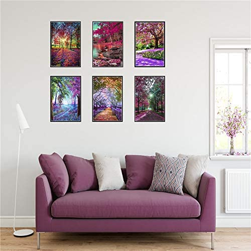 6 Pieces of 5D Full Diamond Adult Digital Painting Diamond Album, Children Adult, Beginner Housewarming Gifts, Z Landscape Pictures, Used for Home Wall Decoration 12 x 16 inches