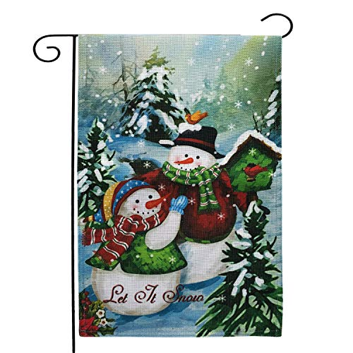 HBOffer Garden Flags Christmas Double Sided,12 x 18 Burlap Winter Yard Seasonal Flag - Birds, Let It Snow, Snowman, Scarf, Decorative Small Holiday House Decor Banner (Let It Snow)
