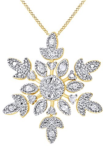 AFFY White Natural Diamond Snowflake Pendant Necklace in 14K Yellow Gold Over Sterling Silver (0.1 Ct) ()