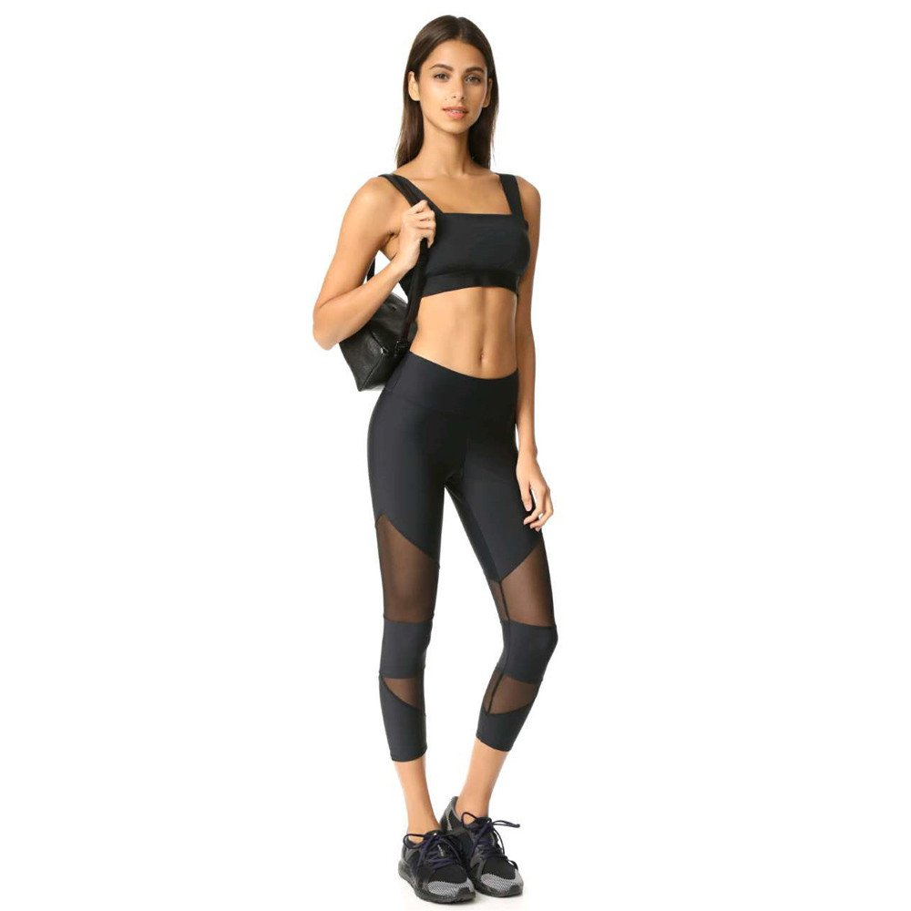 4Clovers Women's Yoga Pant Tummy Control Running Capris Stretch Workout Leggings Mesh Patchwork Athletic Yoga Tights Black